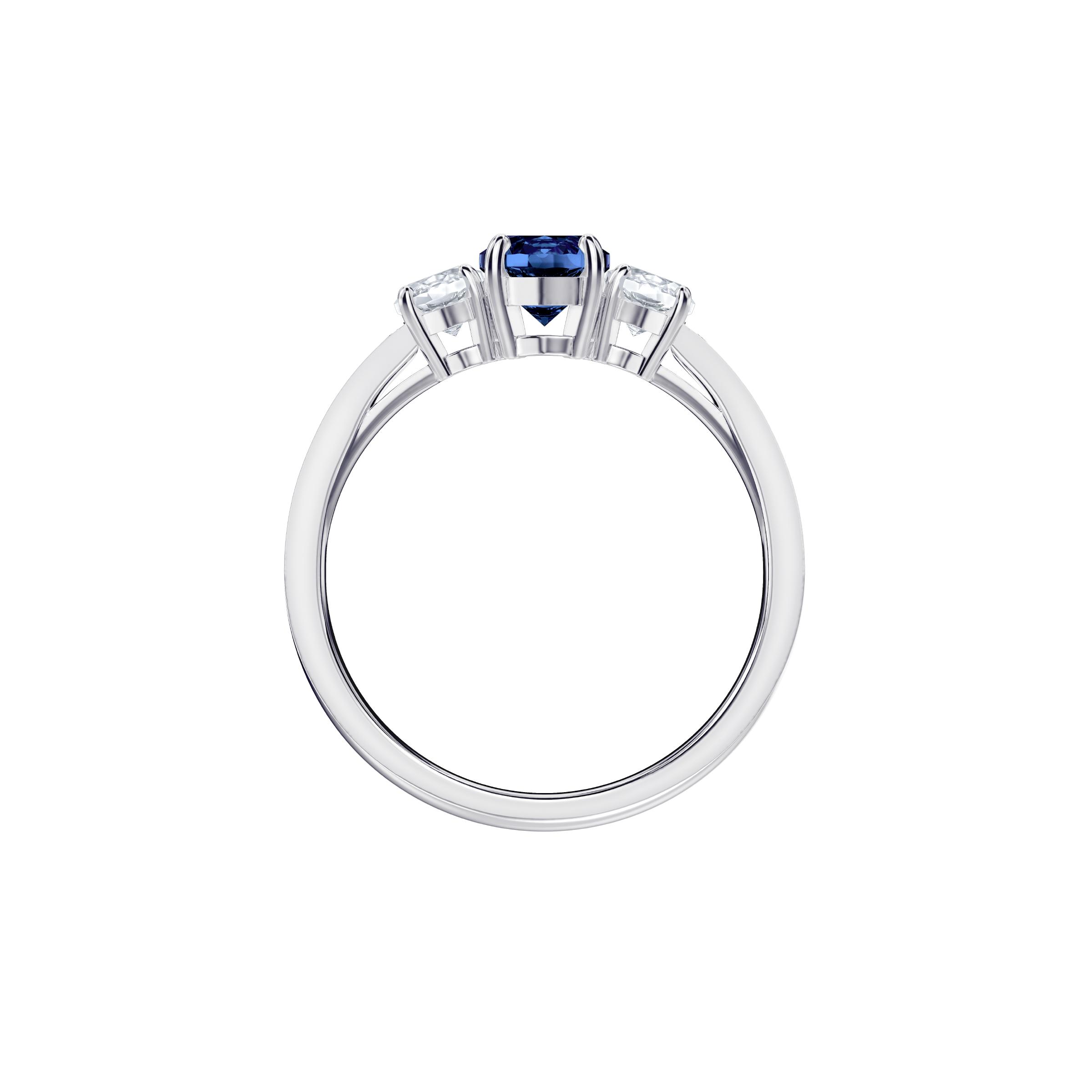 Attract Trilogy Round Ring, Blue, Rhodium Plating