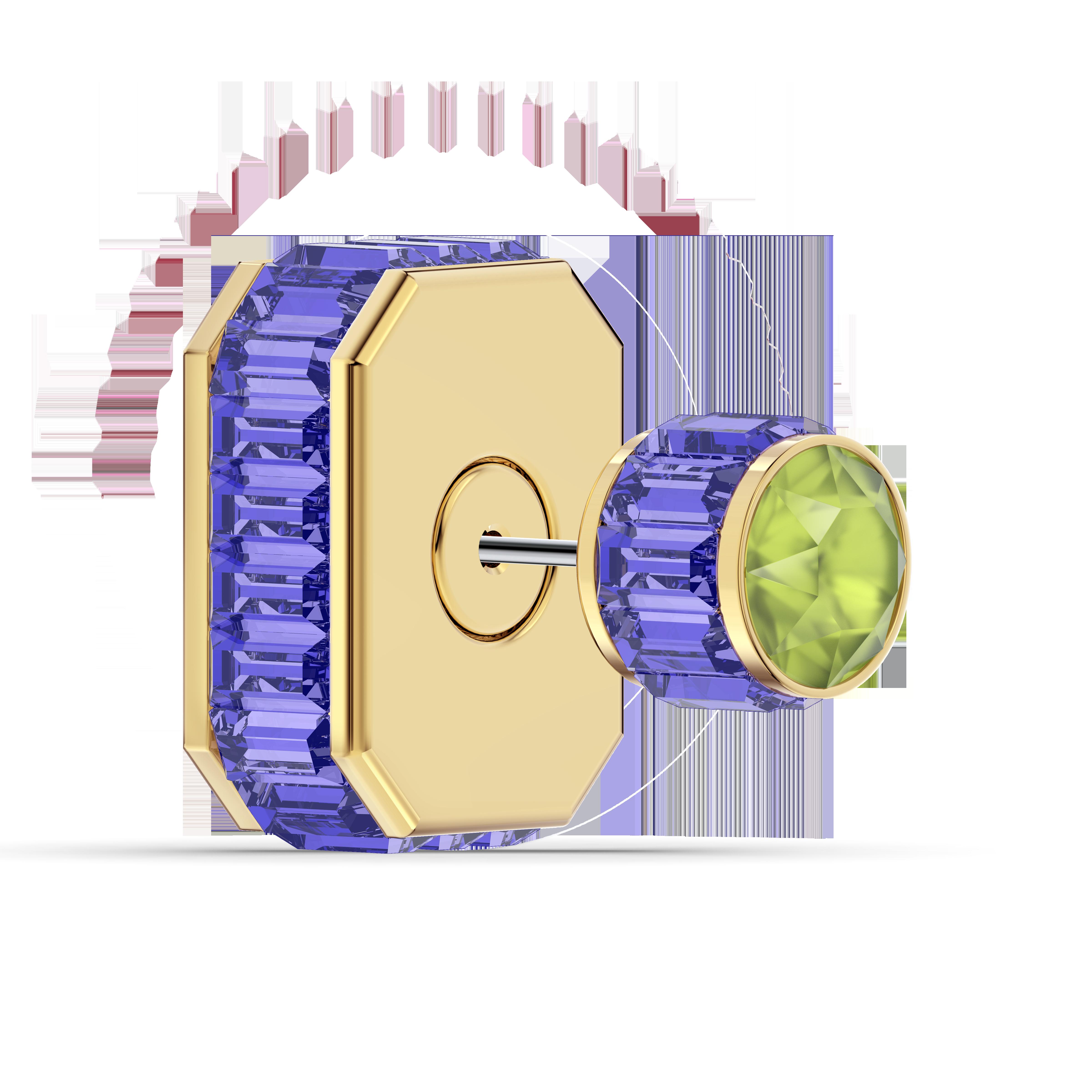 Orbita earring, Single, Octagon cut crystal, Multicolored, Gold-tone plated