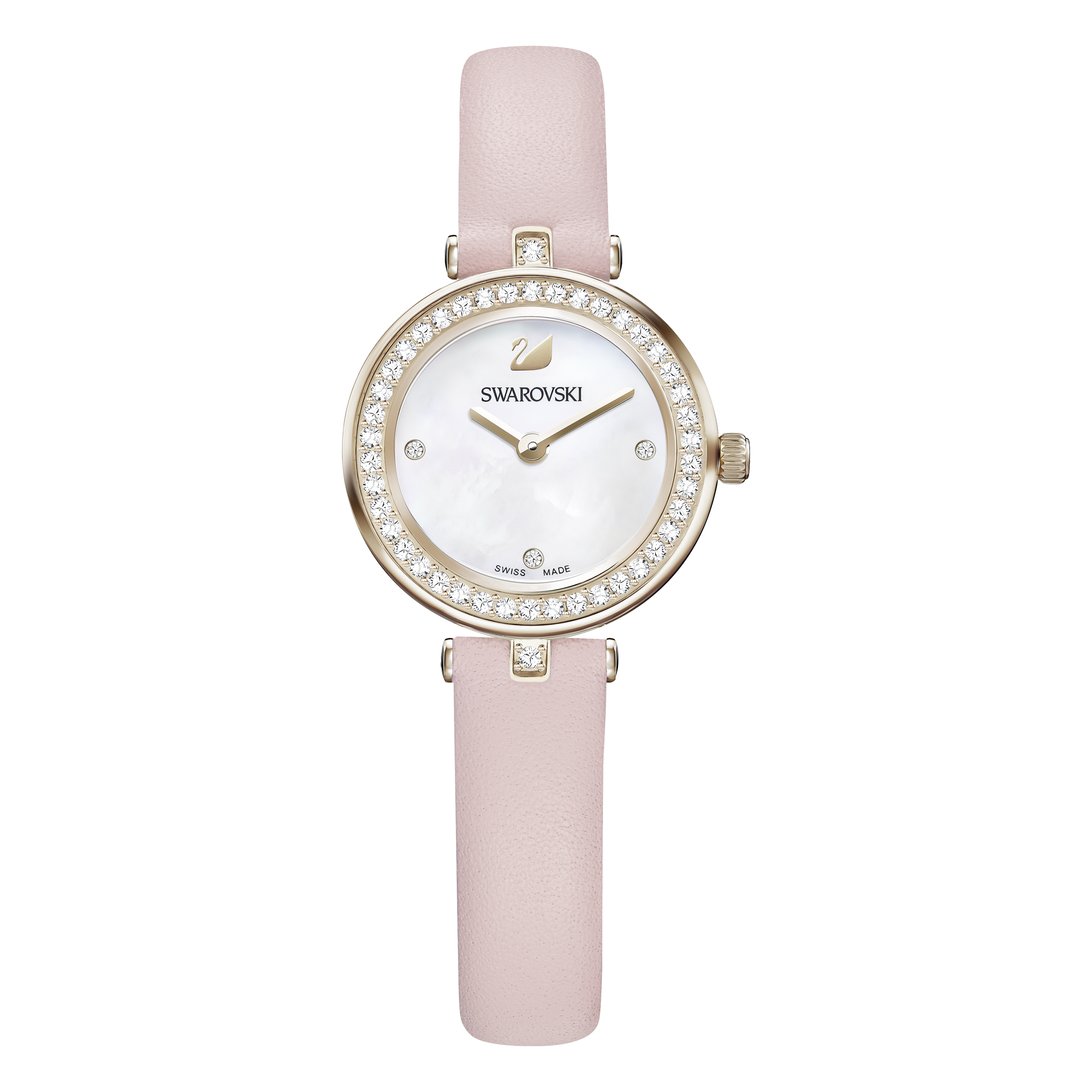 Aila Dressy Mini Watch, Leather strap, Pink, Champagne-gold tone PVD