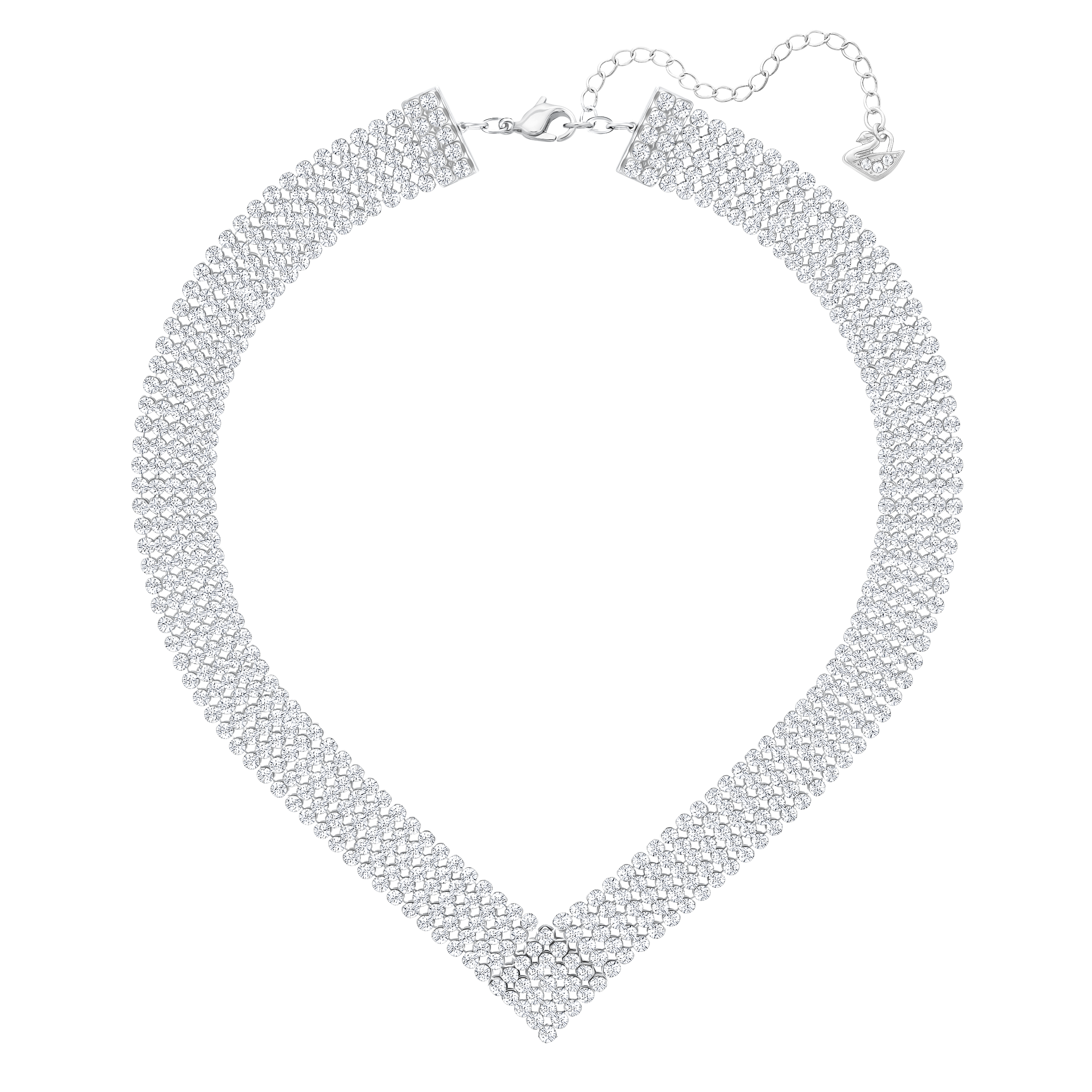 Fit Necklace, V Shaped, White, Palladium Plated