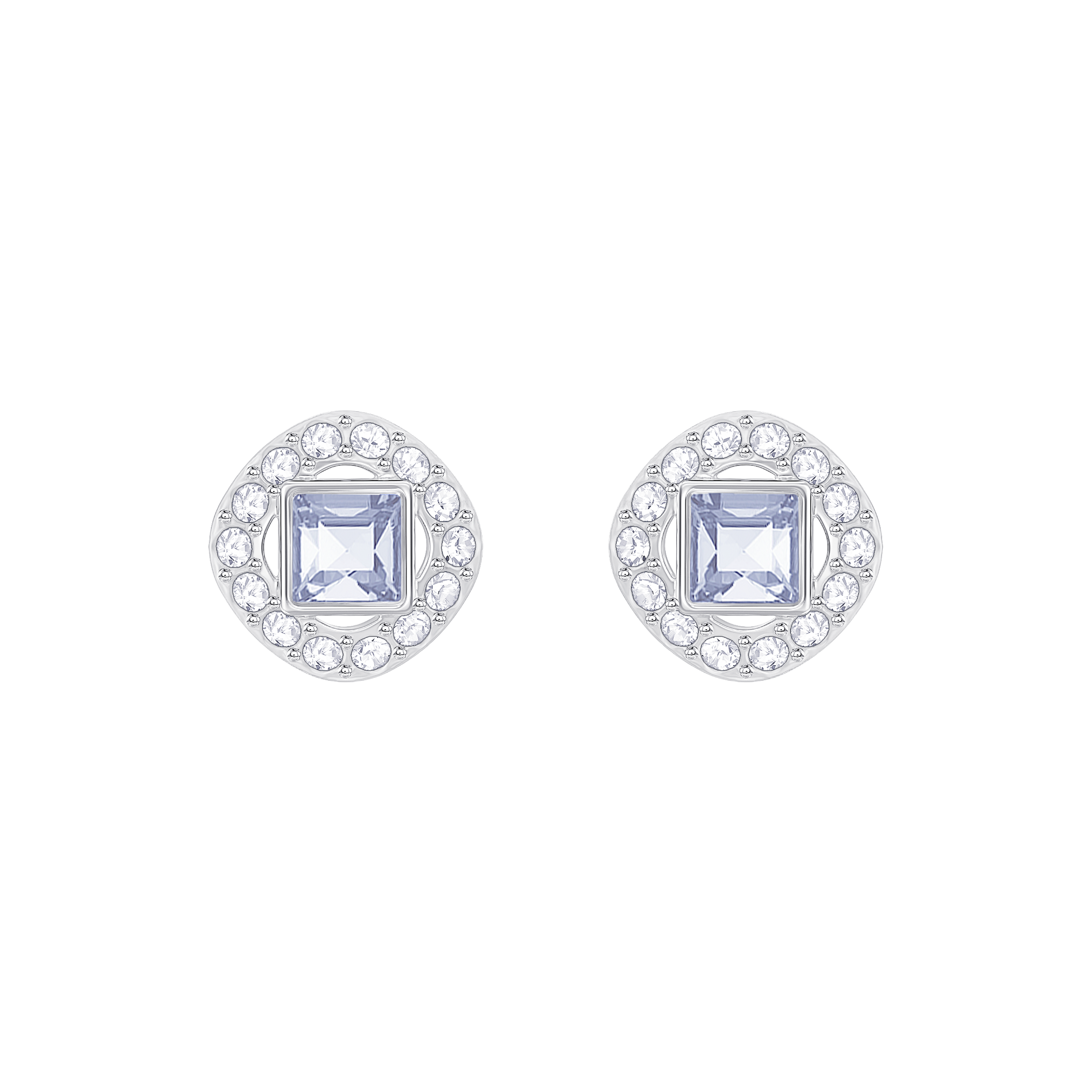 Angelic Square Pierced Earrings, Blue, Rhodium Plated