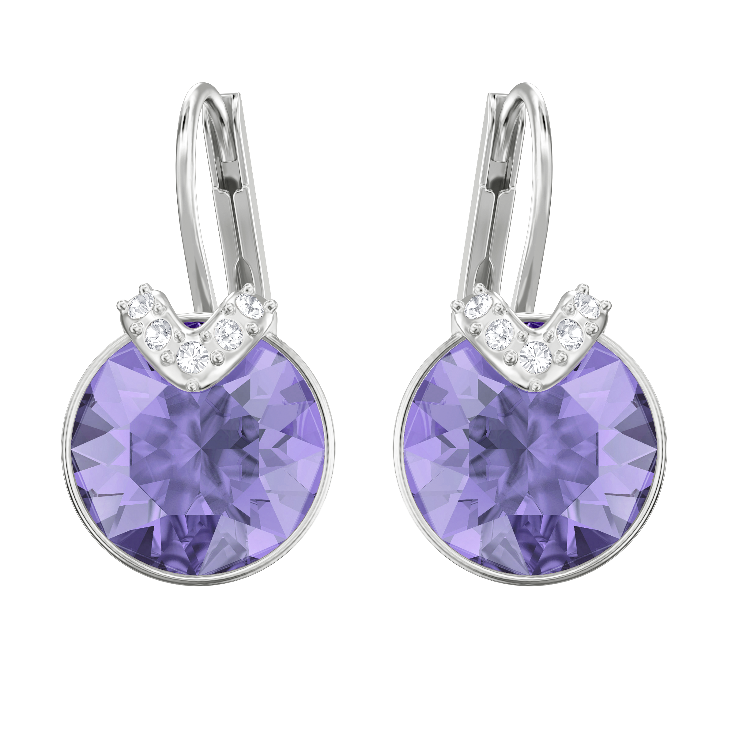 Bella V Pierced Earrings, Violet, Rhodium Plating