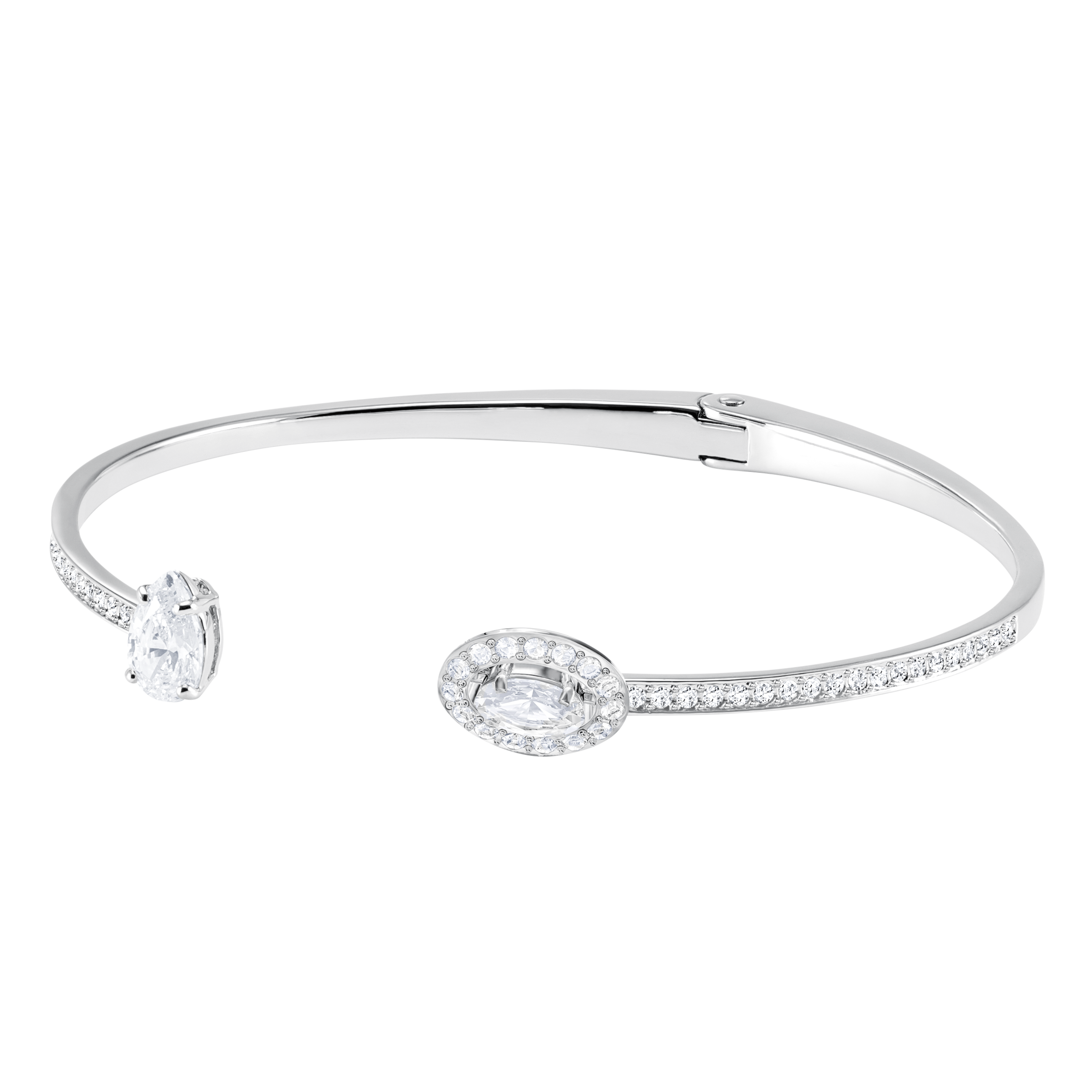 Attract Bangle, White, Rhodium Plating