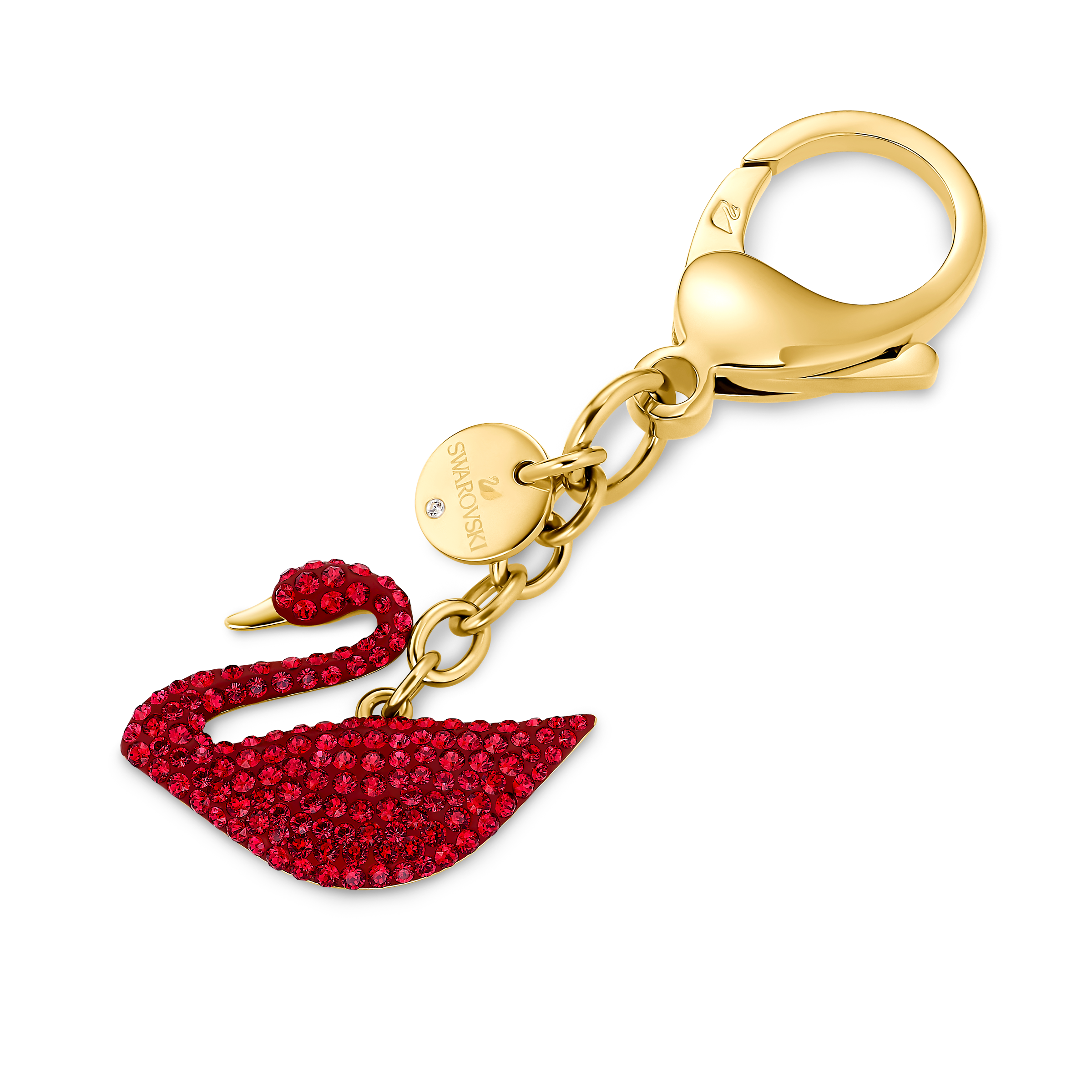 Swan Bag charm, Red, Gold-tone plated