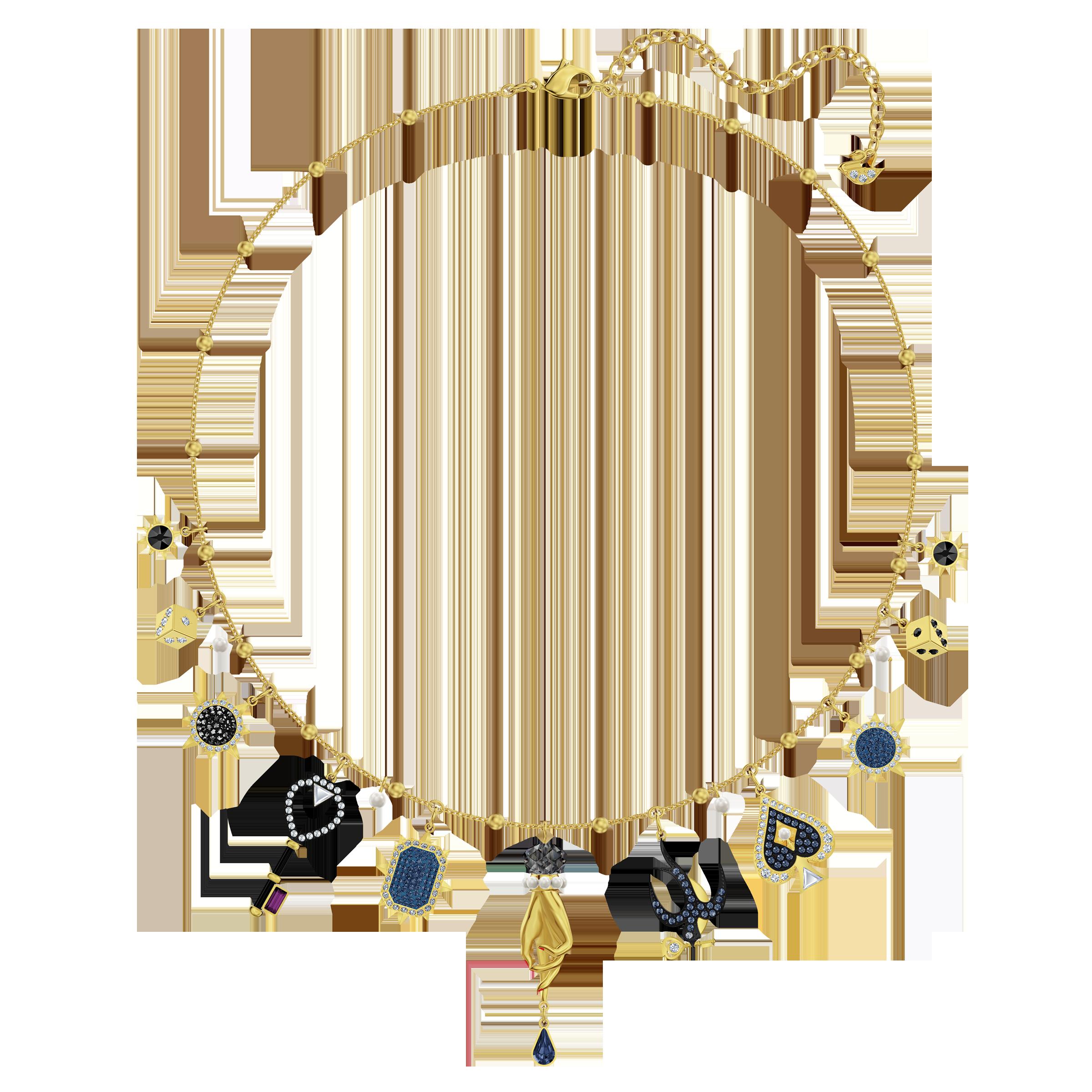 Tarot Magic Necklace, Multi-colored, Gold-tone plated