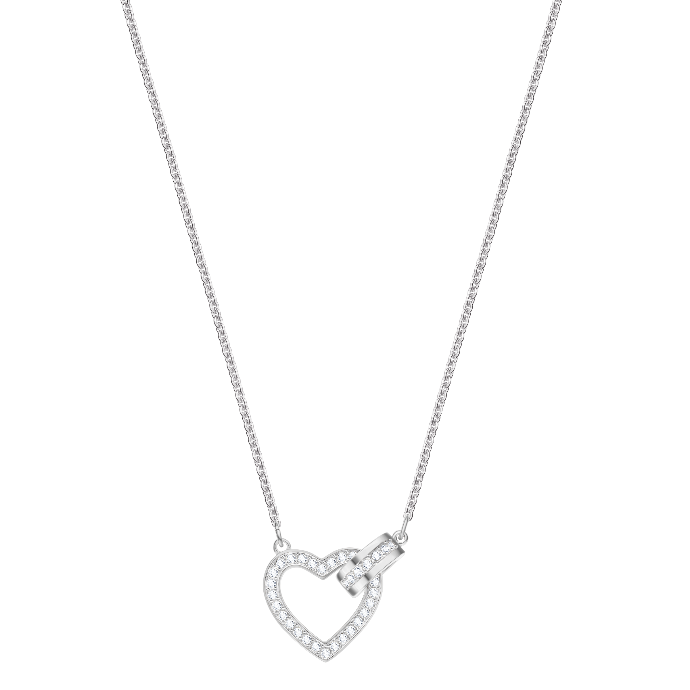 Lovely Necklace, White, Rhodium Plating