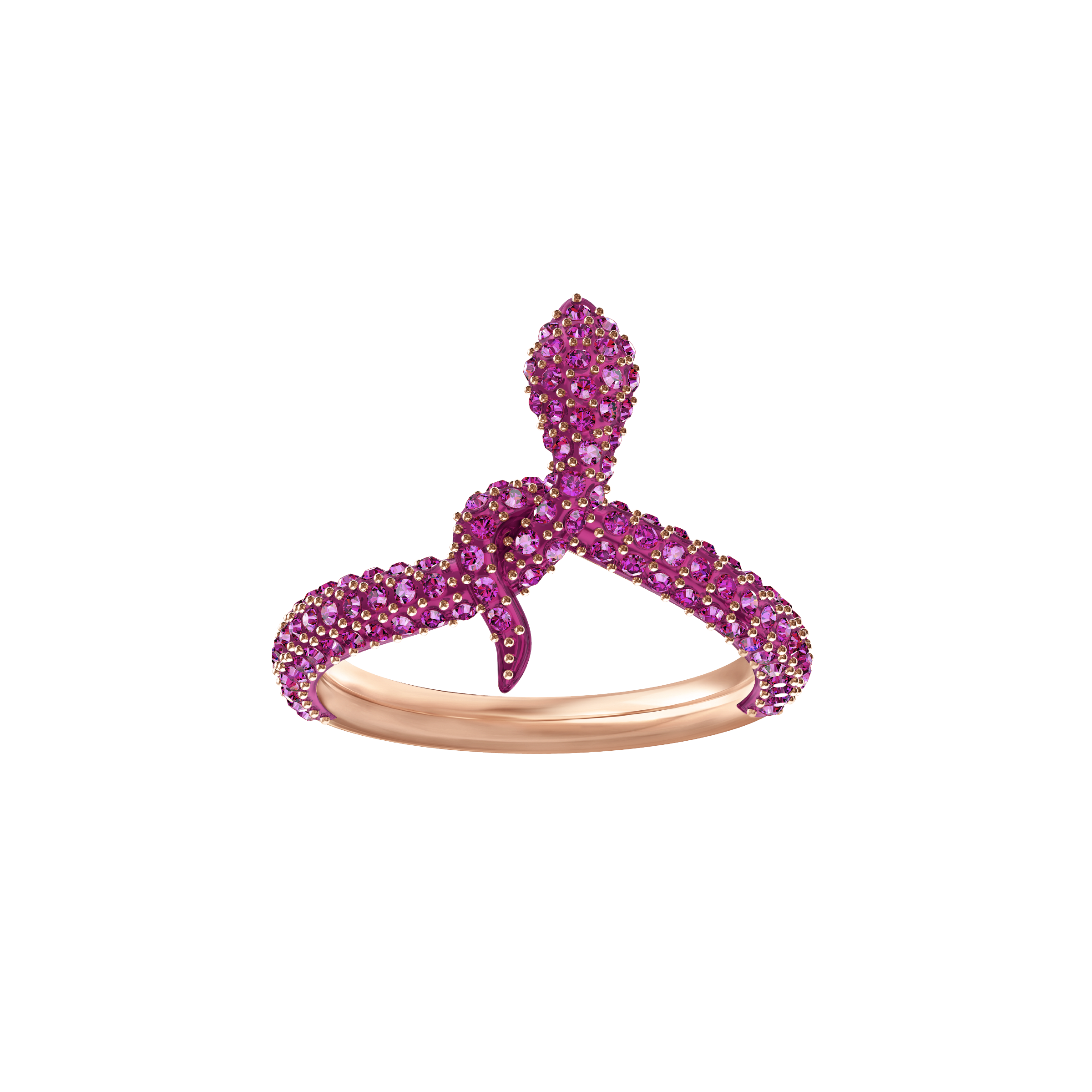 Leslie Motif Ring, Fuchsia, Rose Gold Plating