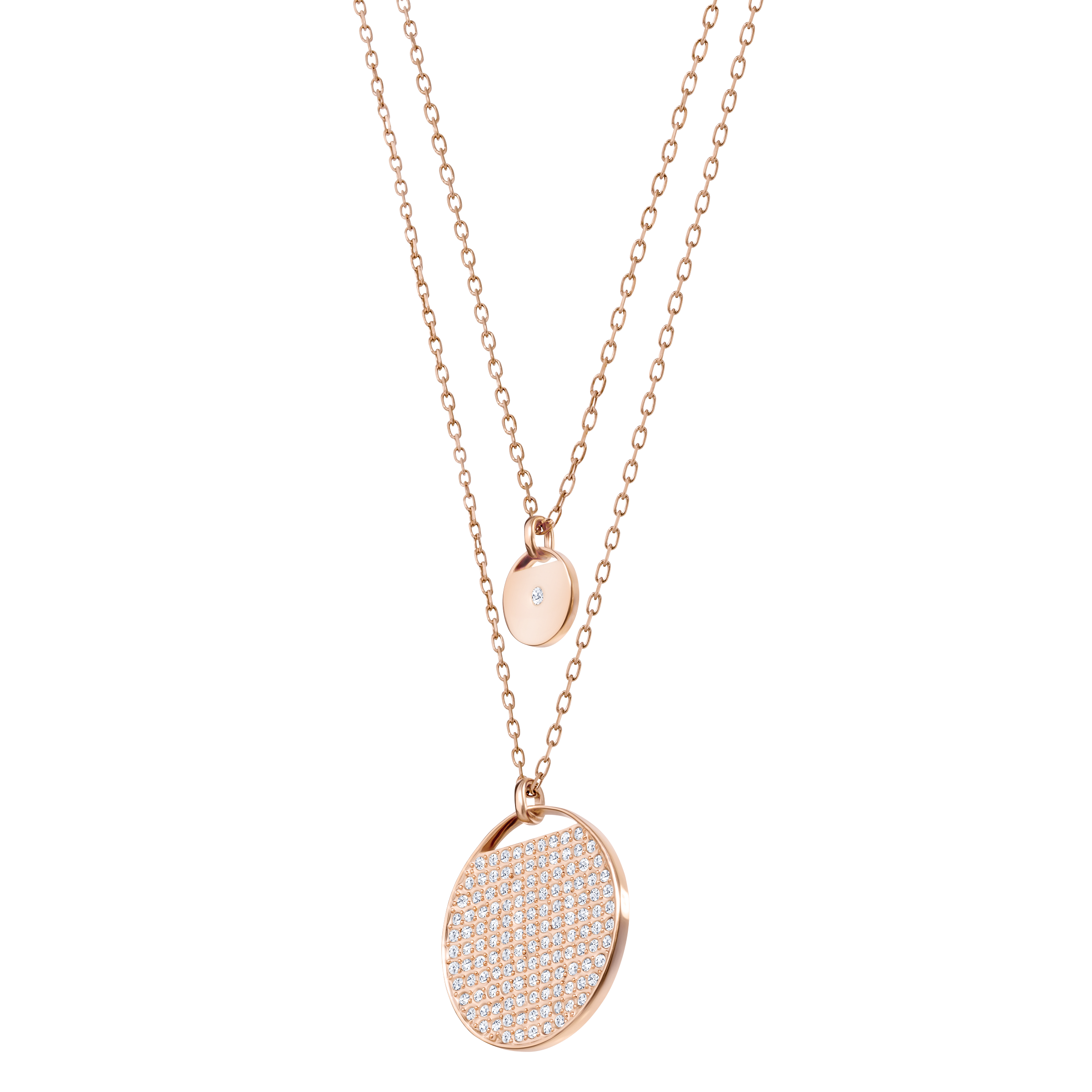 Ginger Layered Pendant, White, Rose Gold Plated