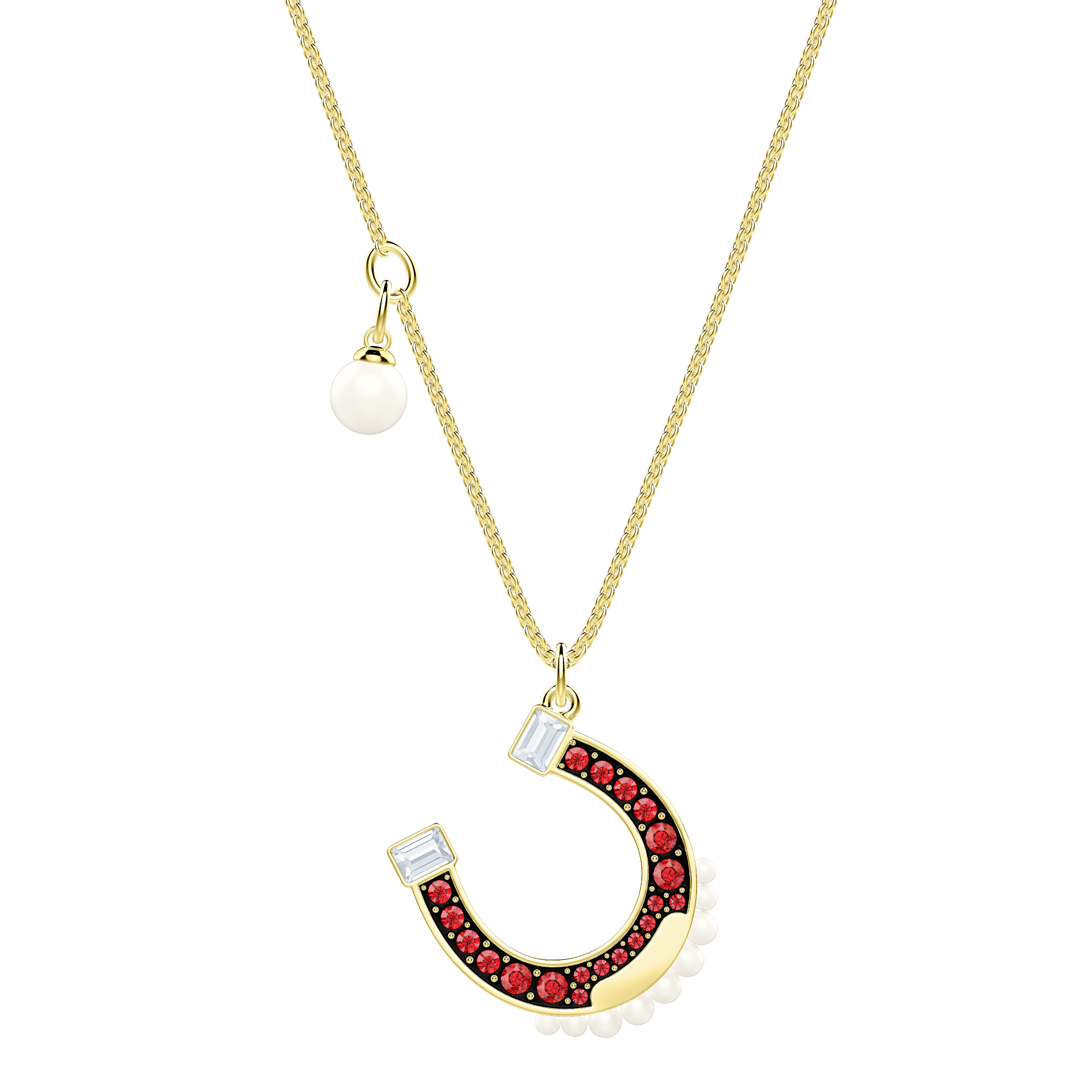 Lucky Goddess Horse Necklace, Multi-colored, Gold plating
