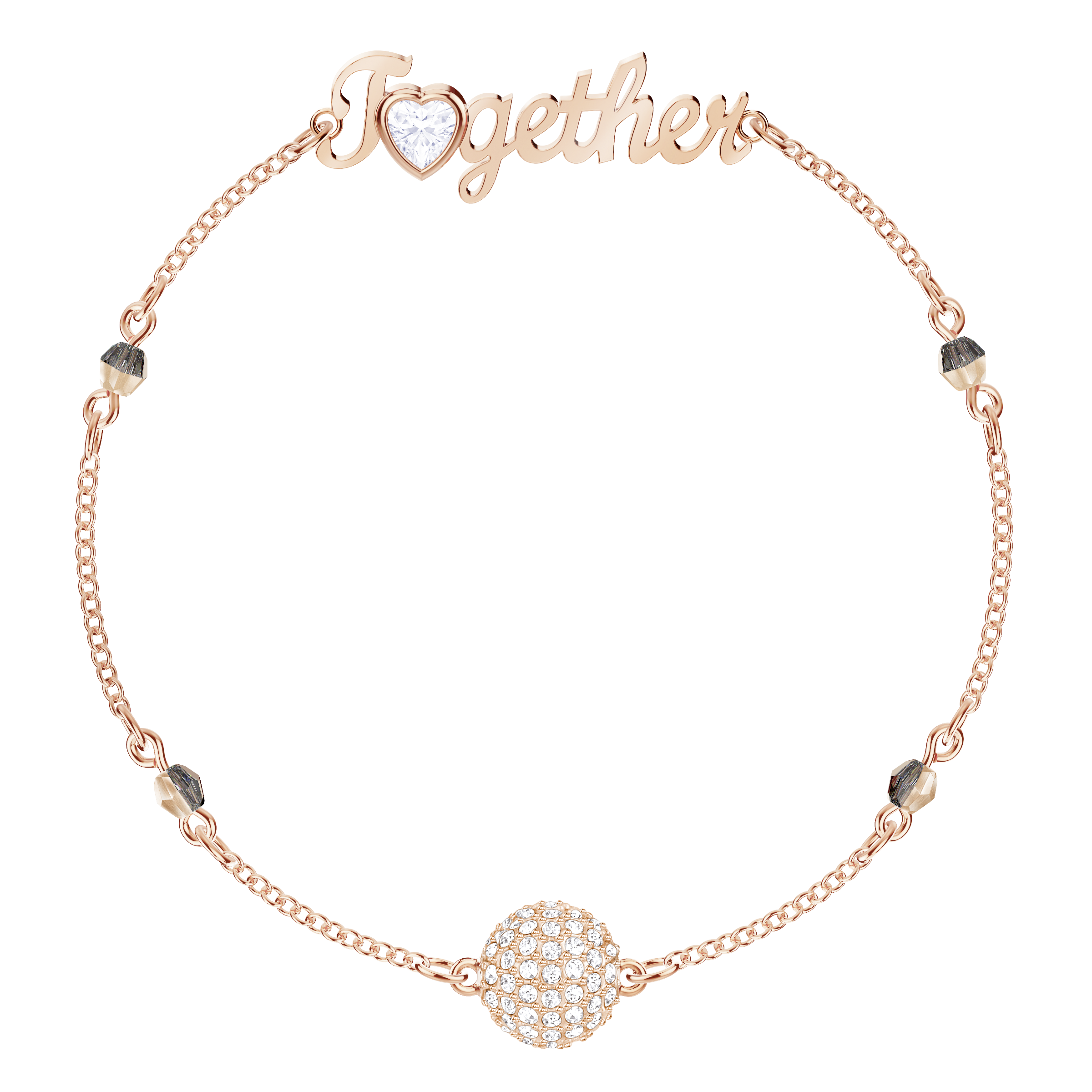 Swarovski Remix Collection Together Strand, White, Rose-gold tone plated