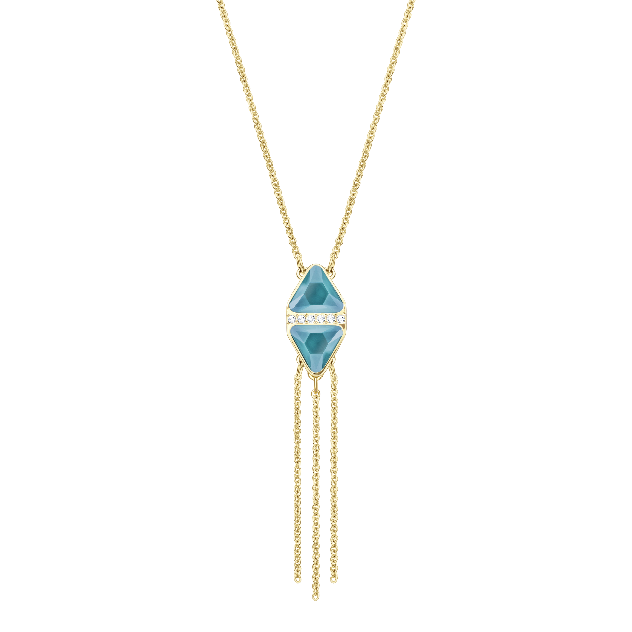 Labyrinth Necklace, Multi-Colored, Gold Plating