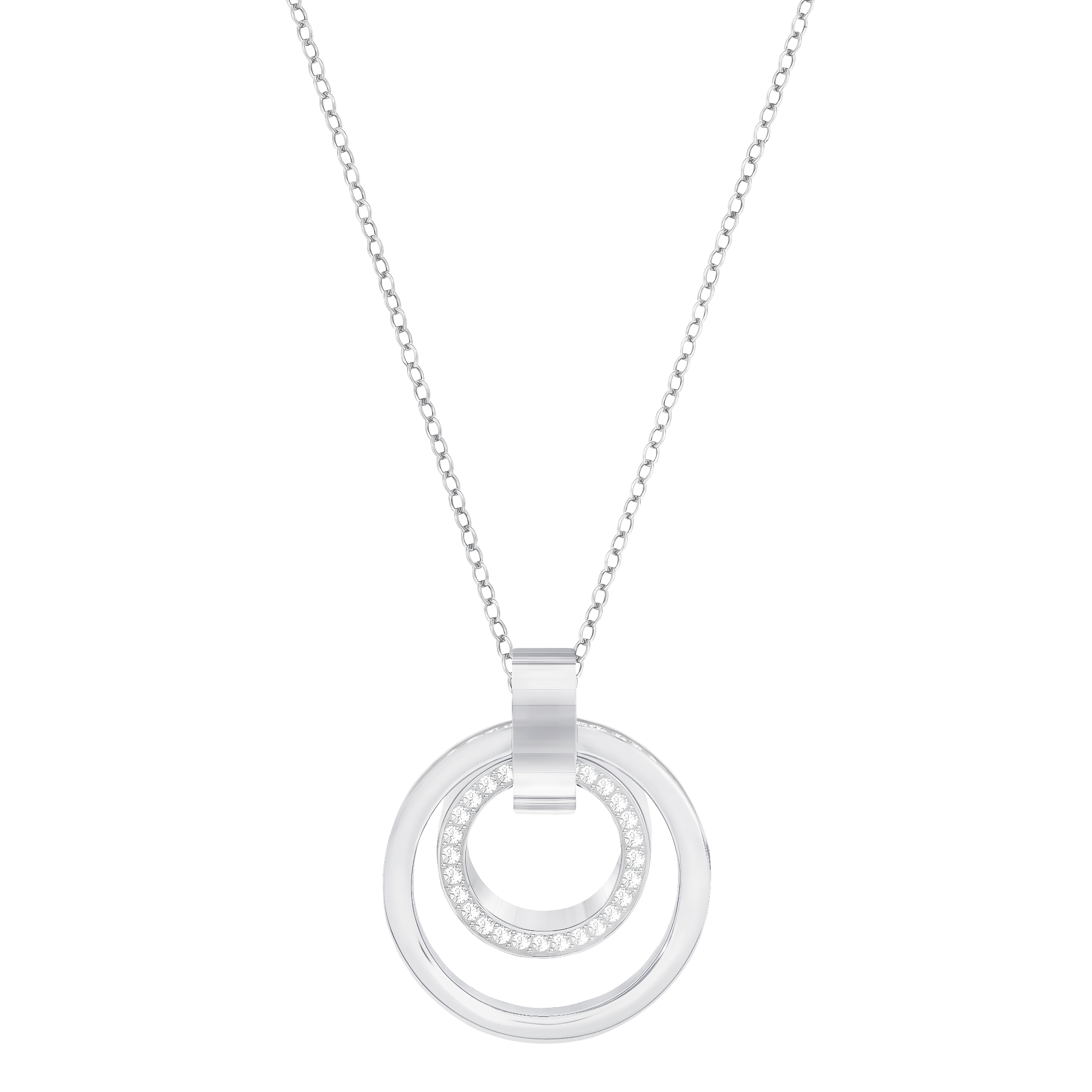 Hollow Pendant, Medium, White, Rhodium Plated