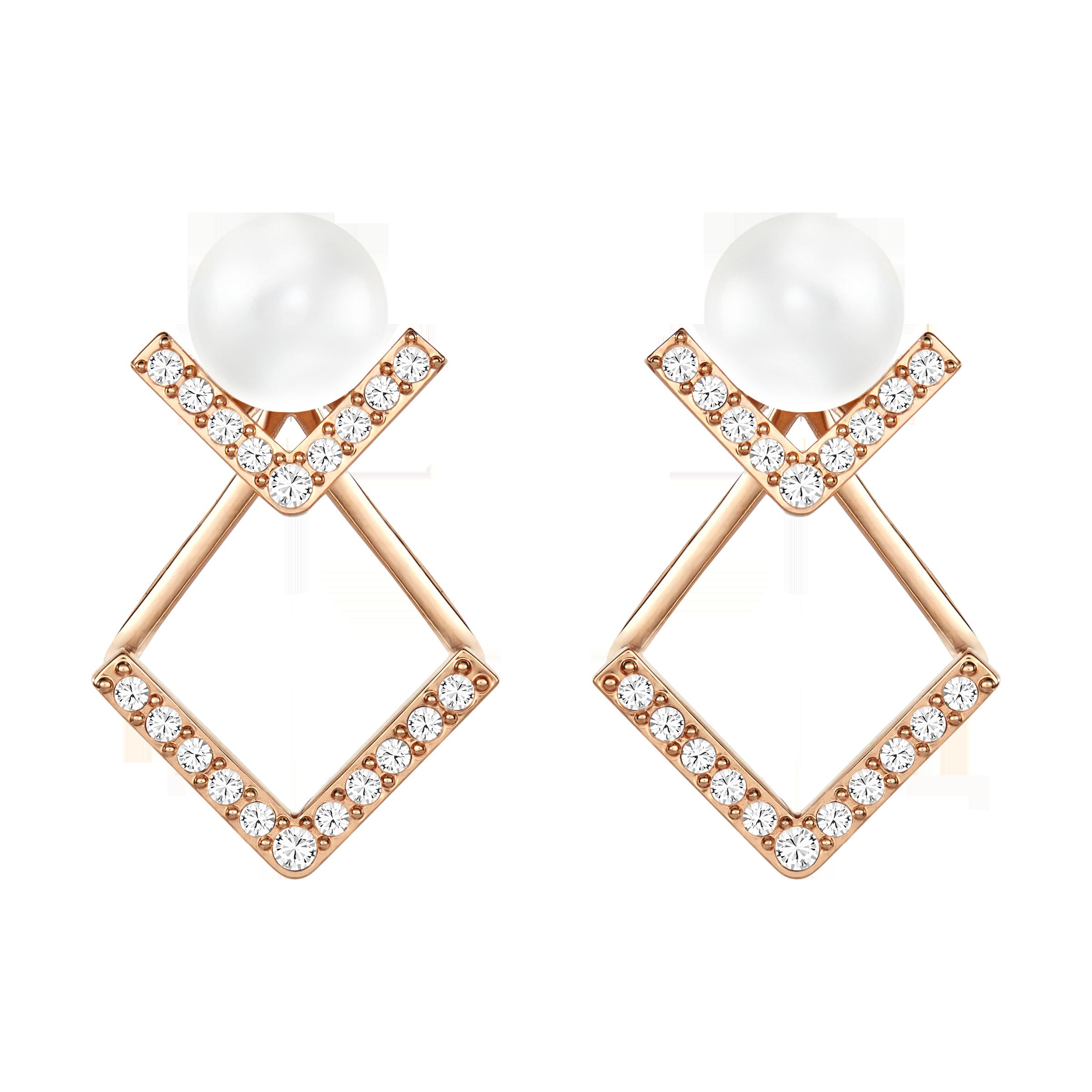 Edify Pierced Earrings, White, Rose Gold Plating