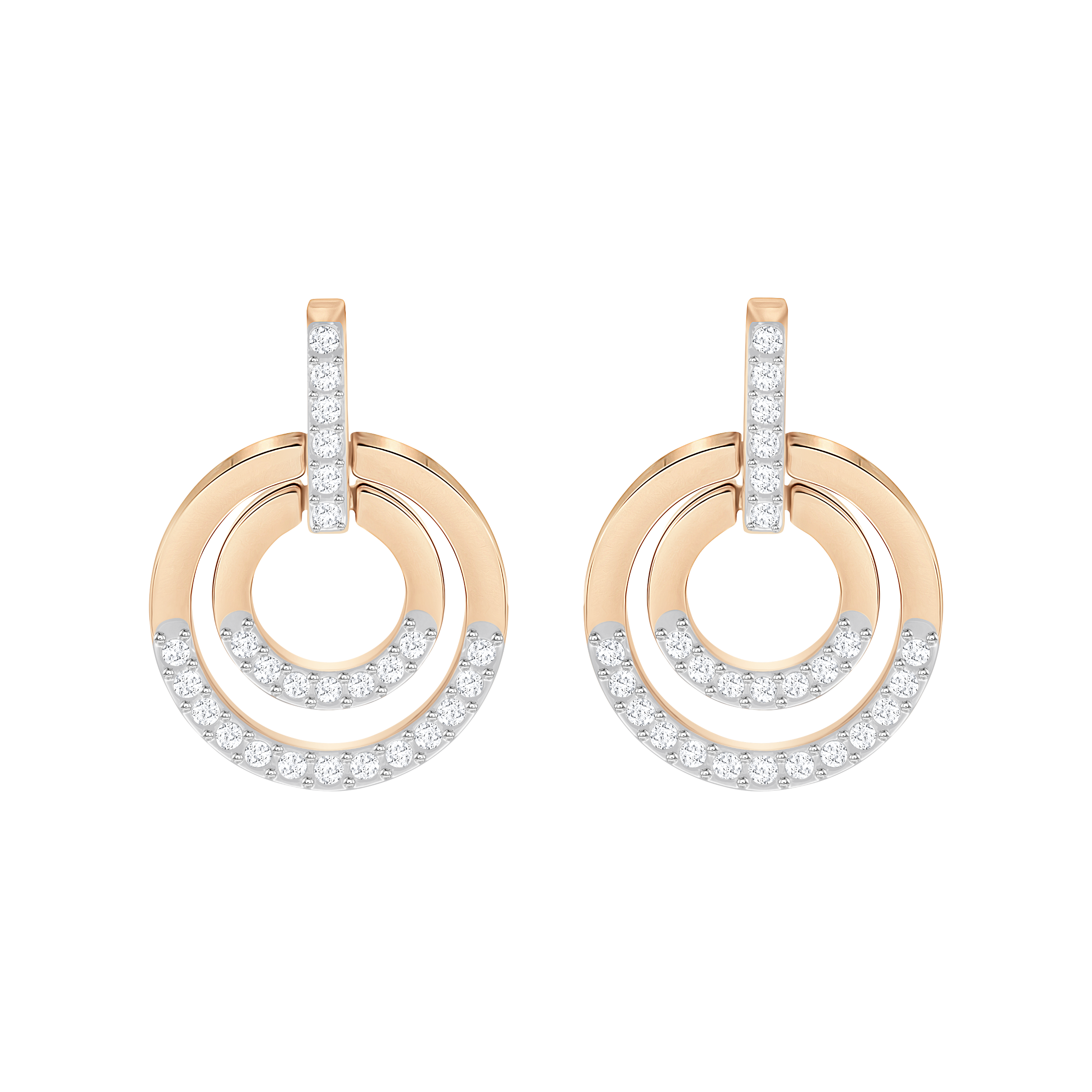 Circle Pierced Earrings, White, Rose-gold tone plated