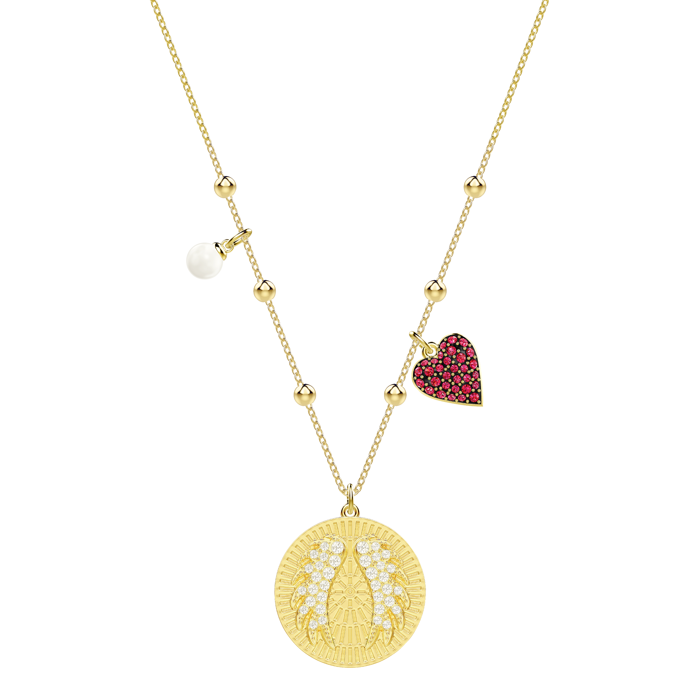 Lucky Goddess Wings Necklace, Multi-colored, Gold plating