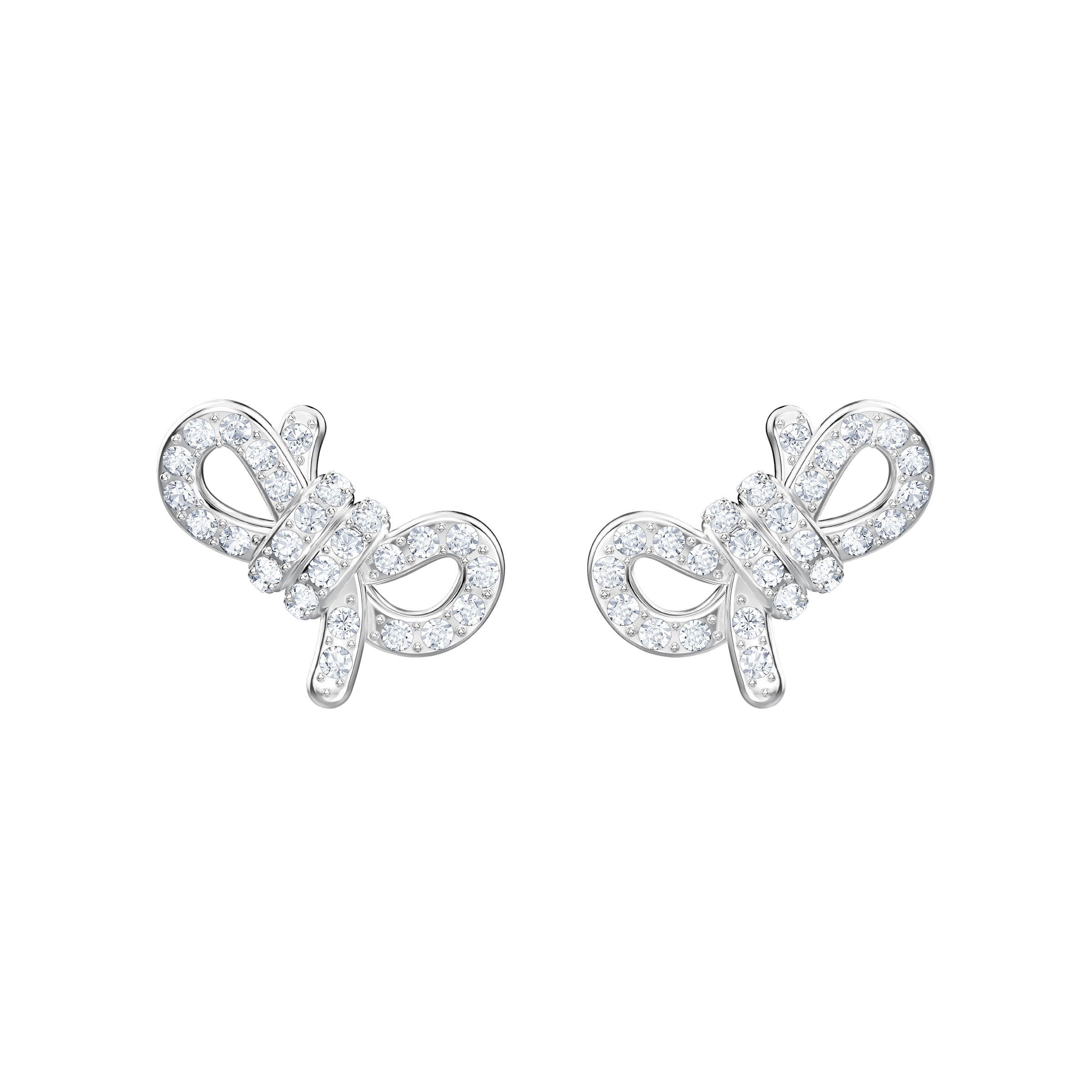 Lifelong Bow Pierced Earrings, White, Rhodium plating