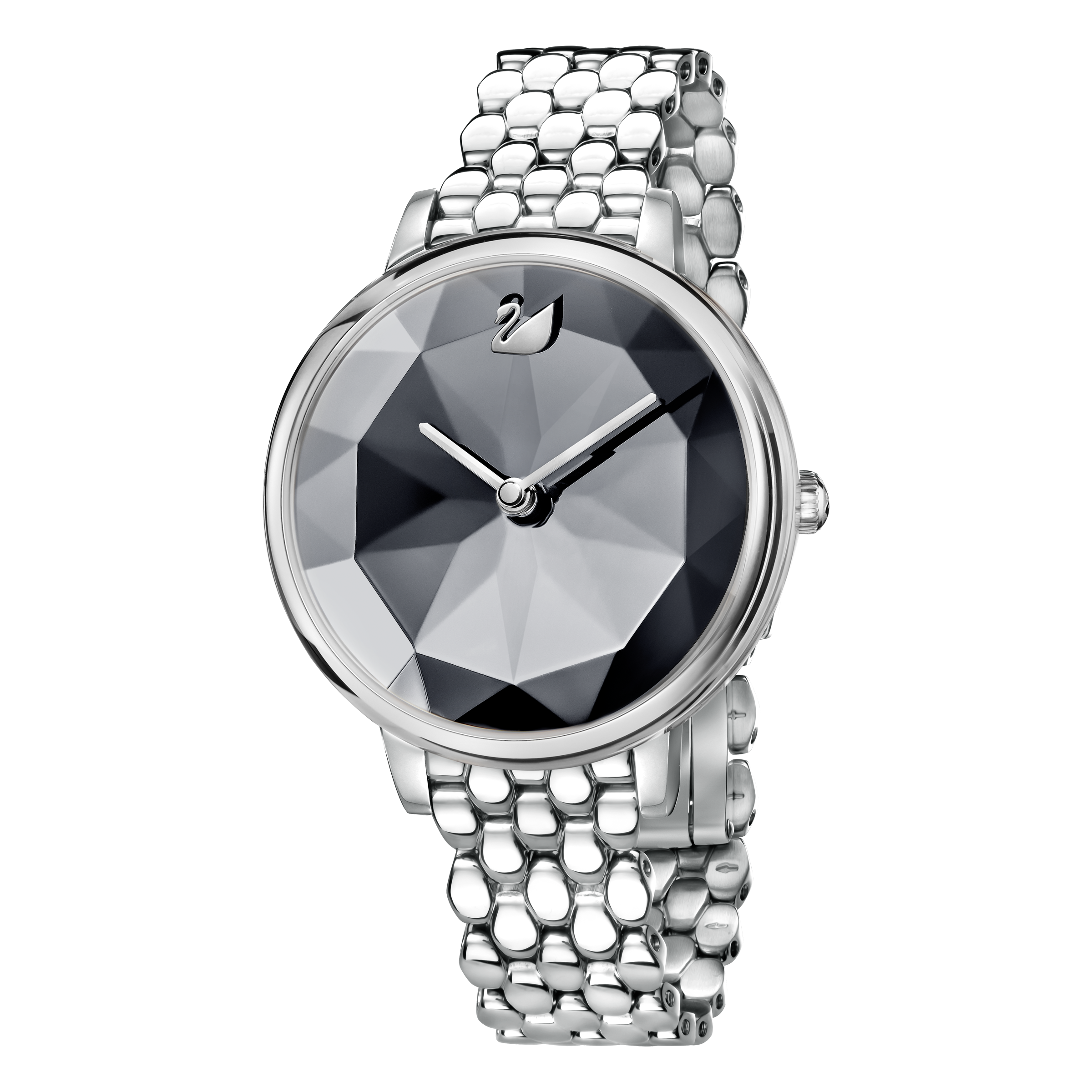 Crystal Lake Watch, Metal Bracelet, Dark Gray, Silver Tone