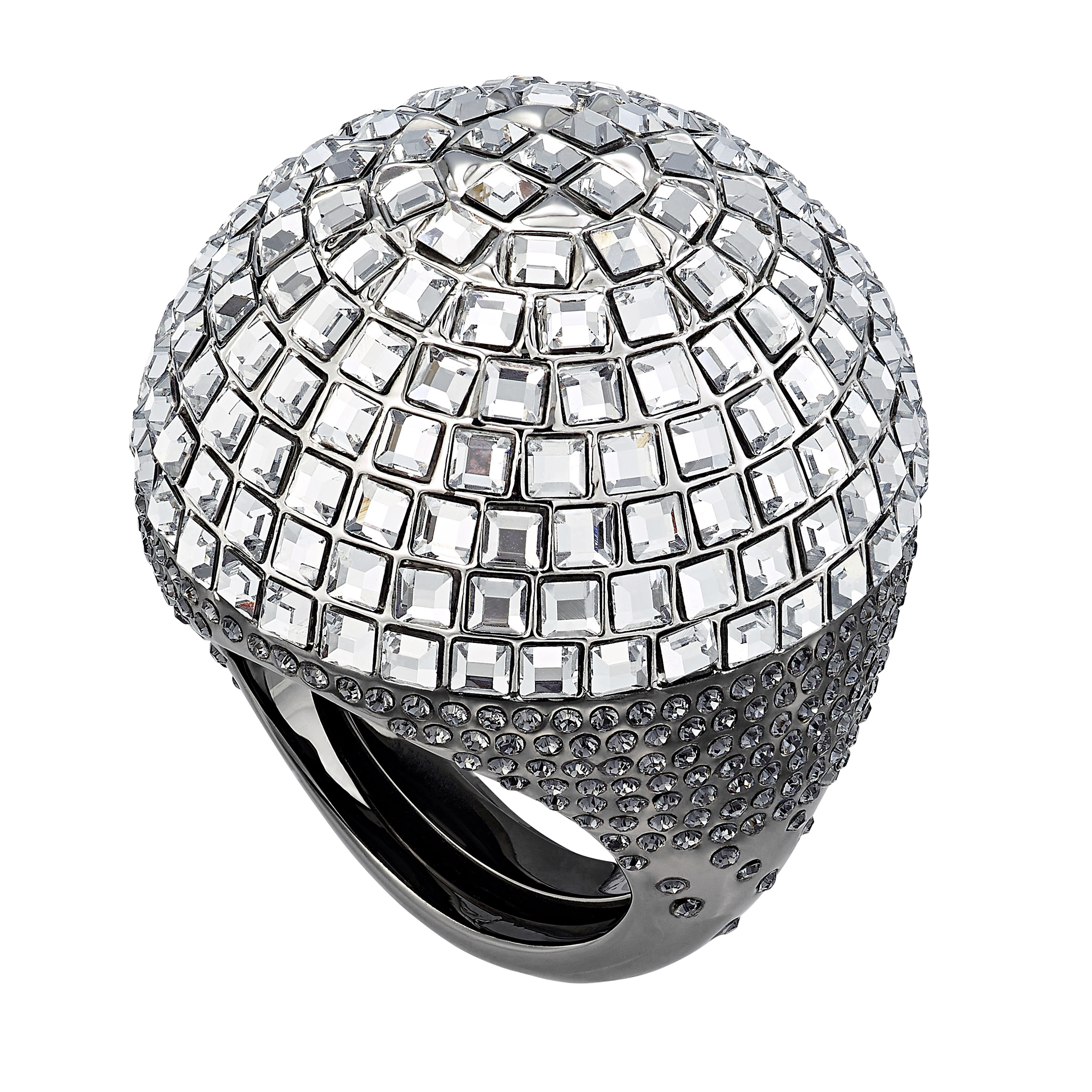 Celestial Fit Cocktail Ring, Gray, Black Ruthenium