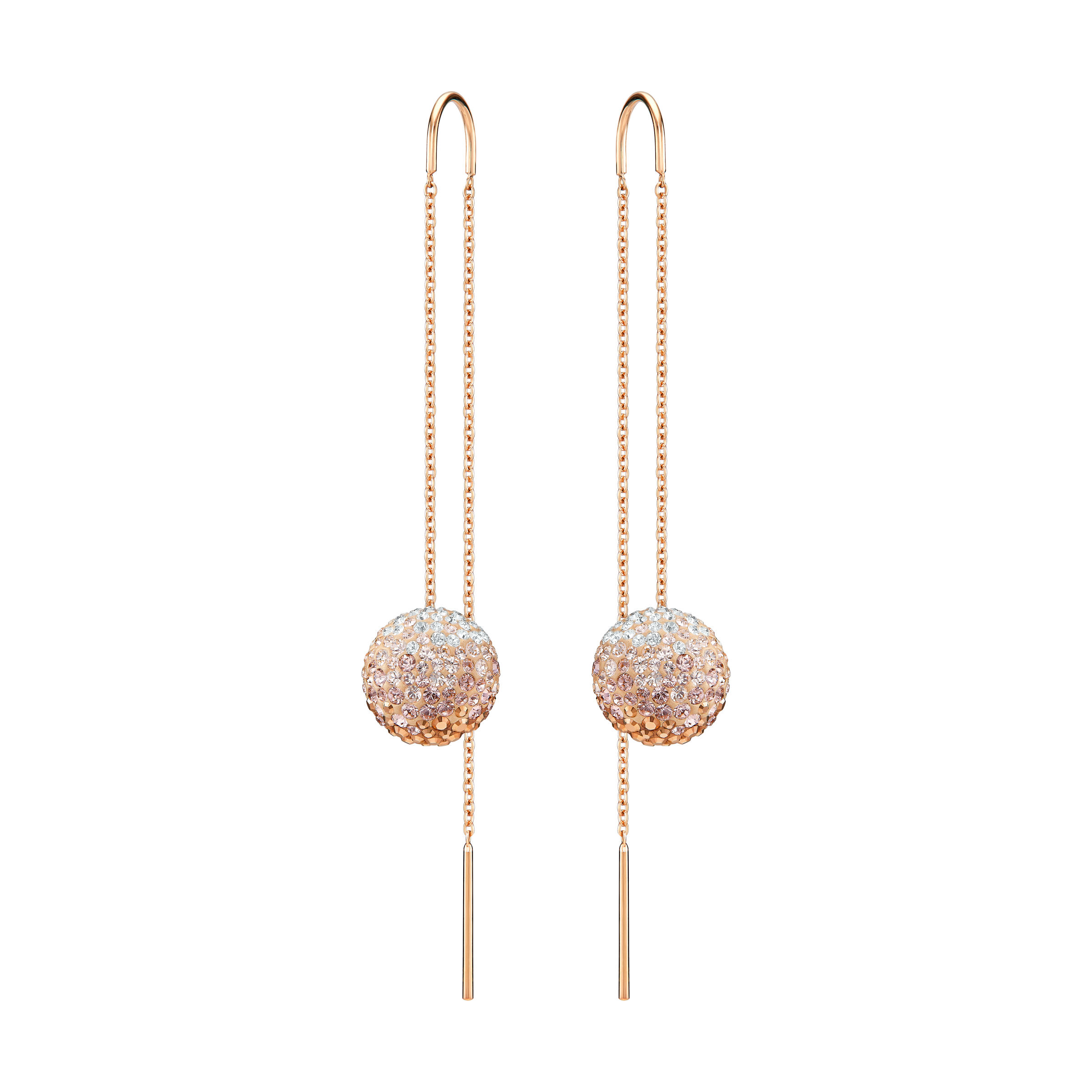 Fun Chain Pierced Earrings, Pink, Rose-gold tone plated