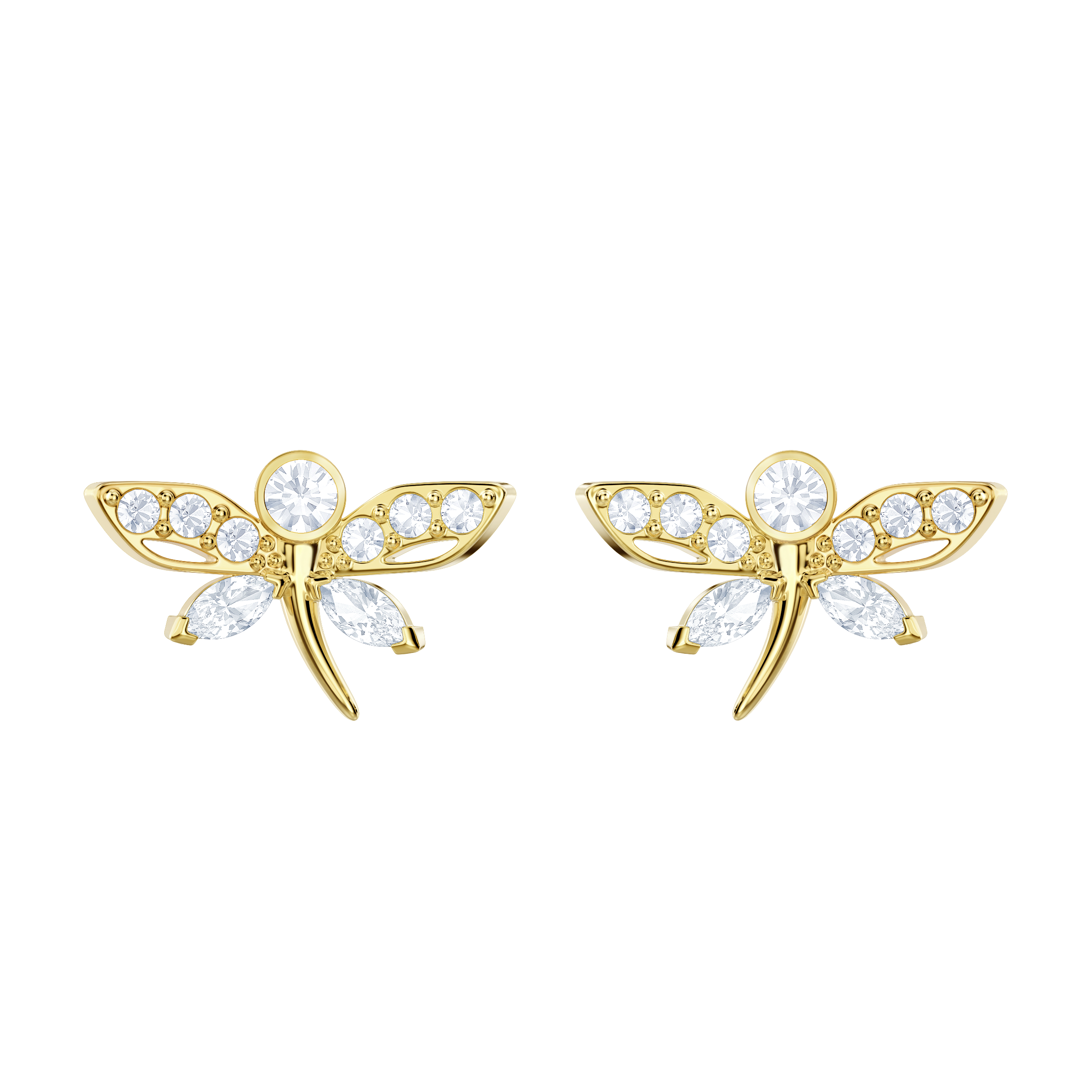 Magnetic Dragonfly Stud Pierced Earrings, Light Multi, Gold-tone plated