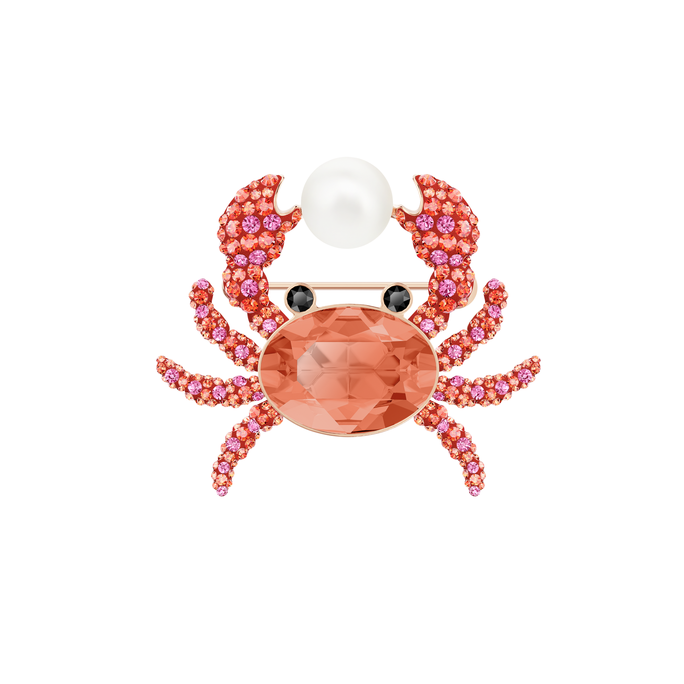 Ocean Crab Brooch, Multi-colored, Rose gold plating