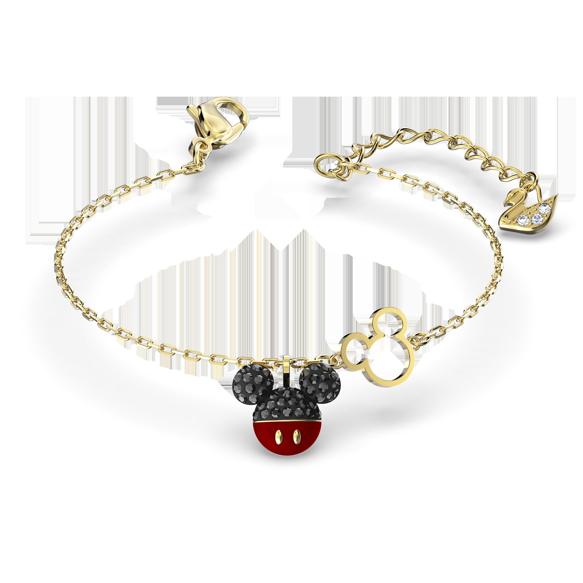 Mickey Bracelet, Black, Gold-tone plated