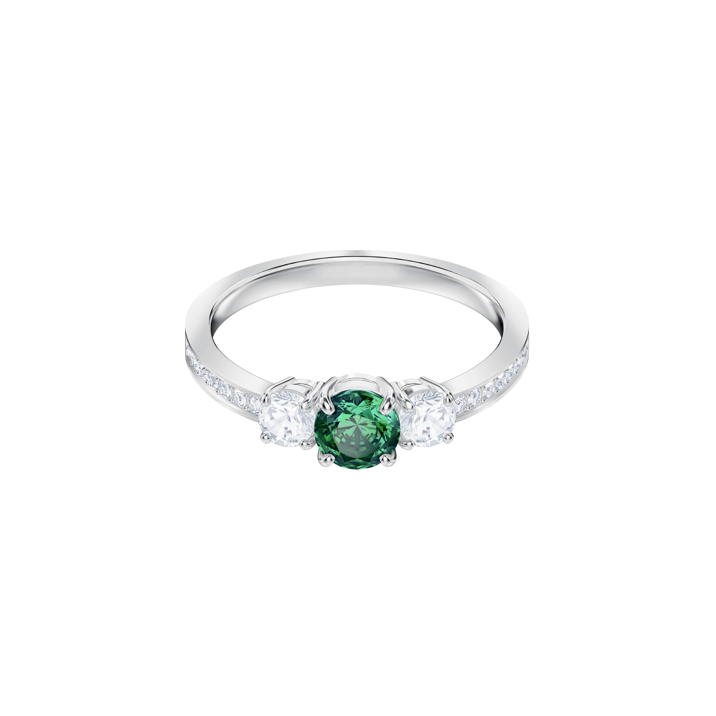 Attract Trilogy Round Ring, Green, Rhodium Plating