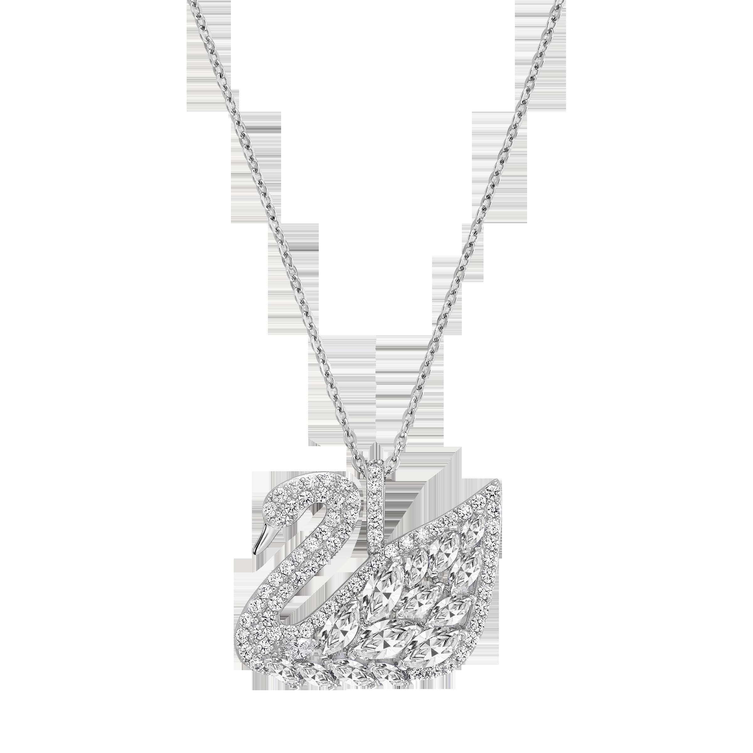 Swan Lake Pendant, White, Rhodium Plating